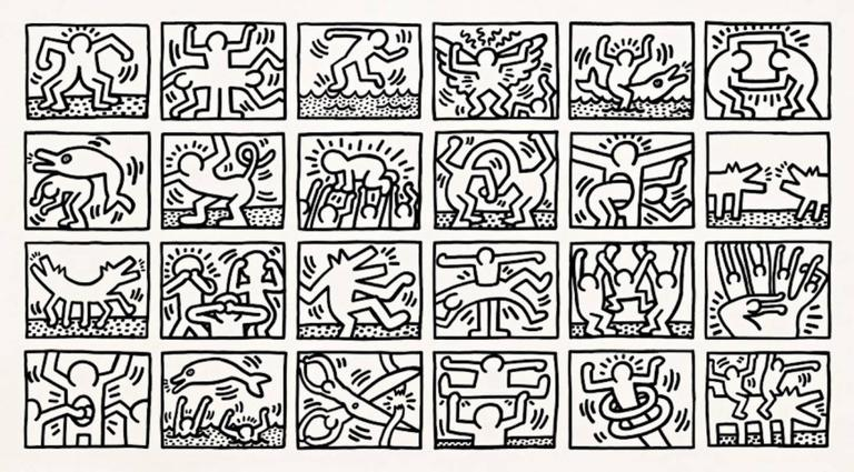 Keith Haring Retrospect Black and White Print at 1stdibs