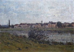 Banks of the Seine River, oilpainting by french artist Camille Dufour