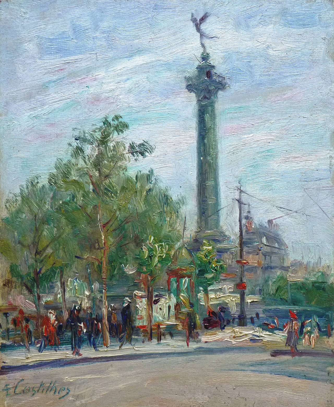 André Eugène Costilhes Landscape Painting - Place de la Bastille - Paris, by Costilhes, french Post-impressionst artist