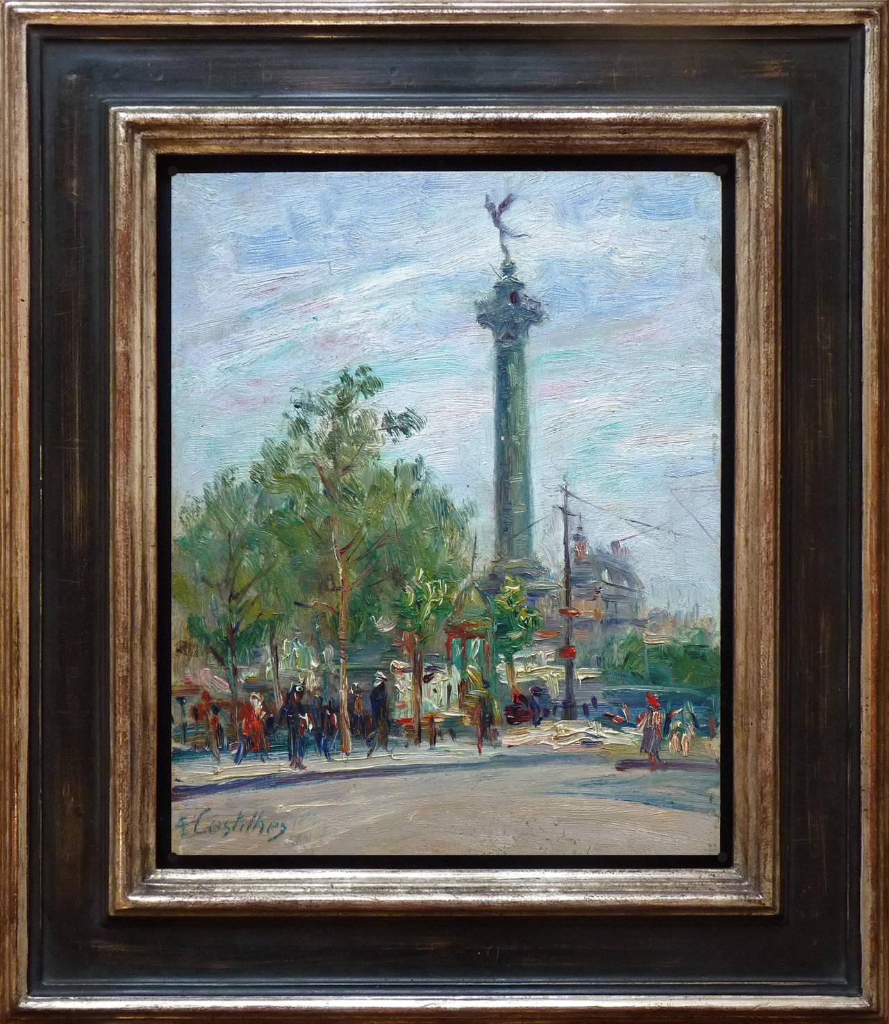 Place de la Bastille - Paris, by Costilhes, french Post-impressionst artist - Painting by André Eugène Costilhes