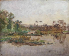 River banks, oil painting by Charles Beauverie, french artist Barbizon school
