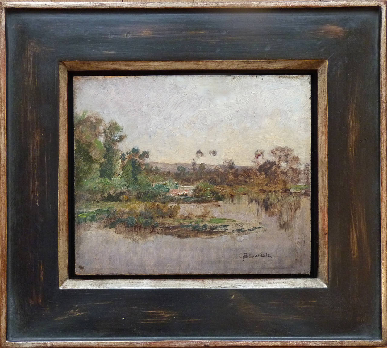 River banks, oil painting by Charles Beauverie, french artist Barbizon school For Sale 1