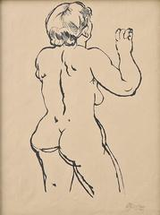 Standing Female Nude dating 1915 by George Grosz, German Expressionist Painter