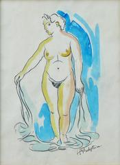 Standing female nude, watercolor by german Expressionism artist Max Pechstein