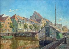 Old city channel in Copenhagen, Oil by Danish impressionist artist Ole Lundsfryd