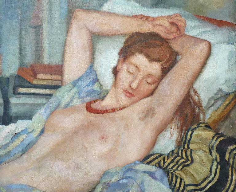 Reclining nude, half length figure portrait, by italian artist Cecchi-Pierracini - Painting by Leonetta Cecchi-Pieraccini