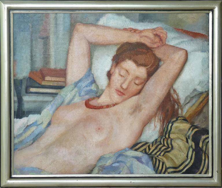 Leonetta Cecchi-Pieraccini Nude Painting - Reclining nude, half length figure portrait, by italian artist Cecchi-Pierracini