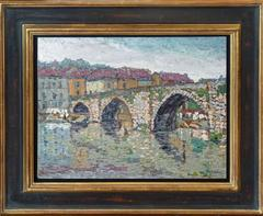 The Saint-Martial bridge at Limoges, pointillist oil painting by Gaston Cantin