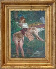 Bathers, early dating oil painting by Czech artist Vladimir Stribrny