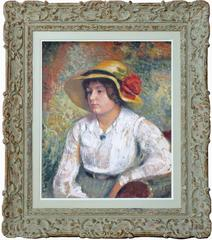 Young Woman with Flower Hat, outstanding oil painting signed by Georges Lemmen