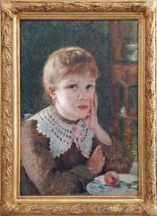 Portrait of the young girl Augusta, oil painting by french artist René Gerin