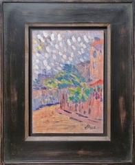 A lane, presumably Paris view, neo-impressionism oil painting by Louis Hayet