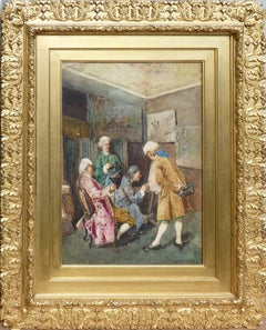 Admiration Of The Mastery, signed watercolor by italian genre painter Daini