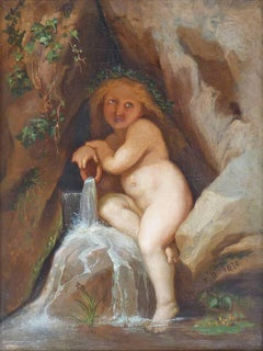 Nymph of the spring in her grotto, oil painting by