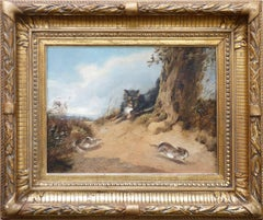 A little Dog hunting 2 Hares, animal oil painting by german artist Meyerheim