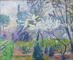 Garden in Springtime with Tree in Blossom, by Impressionism artist Cordey