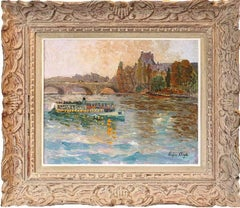 Excursion ship on the Seine river, The Louvre in the background, by Chigot