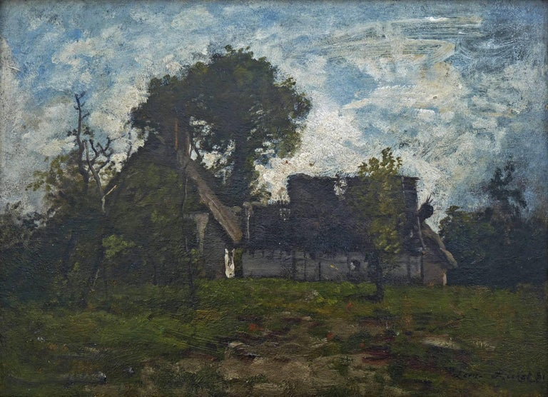 Old Farmyard in Fontainebleau Forest, Signed Oil by Barbizon Artist Leon Richet - Barbizon School Painting by Leon Richet