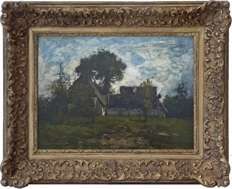 Old Farmyard in Fontainebleau Forest, Signed Oil by Barbizon Artist Leon Richet - Painting by Leon Richet