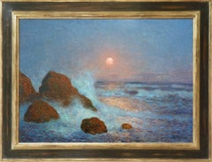 Breakers at Sunset, Oil Painting by Post-impressionist Artist Puigaudeau