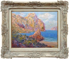 Rocky Coast of Mallora Island, Oil Painting by French-spain Artist Pedro Isern