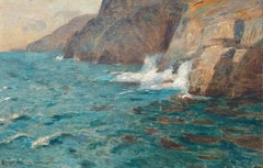 Waves Against Cliffs, Coastal Landscape View in Oil Paint by Richard Schubring
