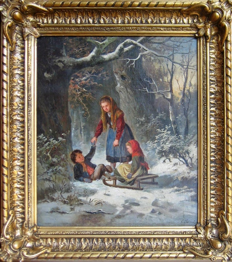 Carl Goebel Figurative Painting - Winter Landscape with 3 Children, Sleigh Ride Genre Painting by Reknown Artist