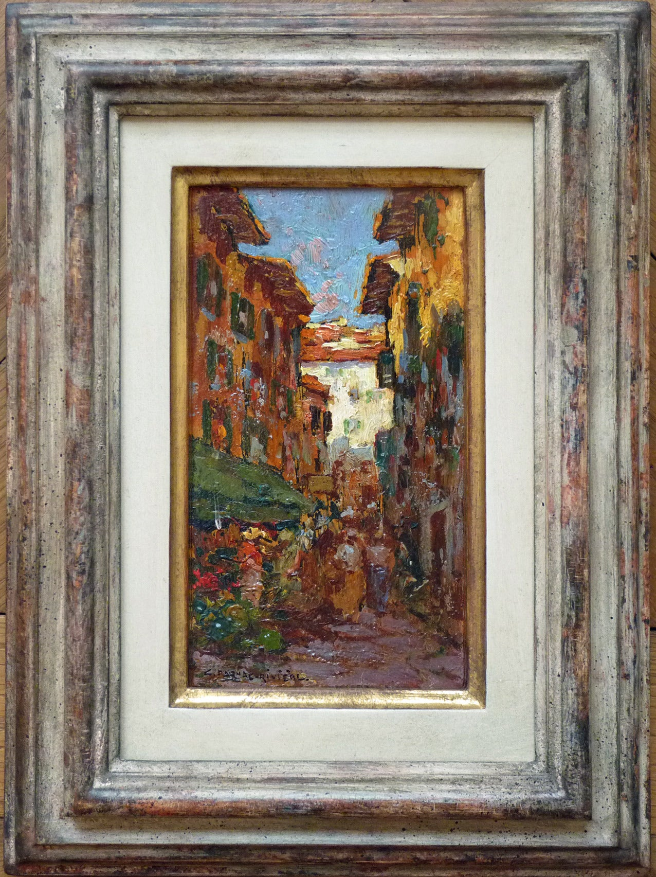 Busy street in Nice, impressionist cabinet piece in oil paint by Dagnac-Riviere