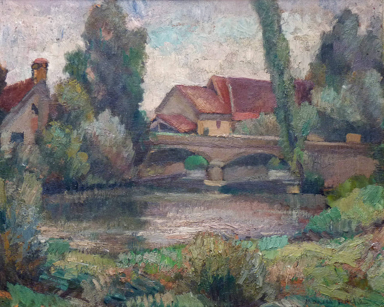 Marcel roche village by the river post impressionist for Oil paintings of houses