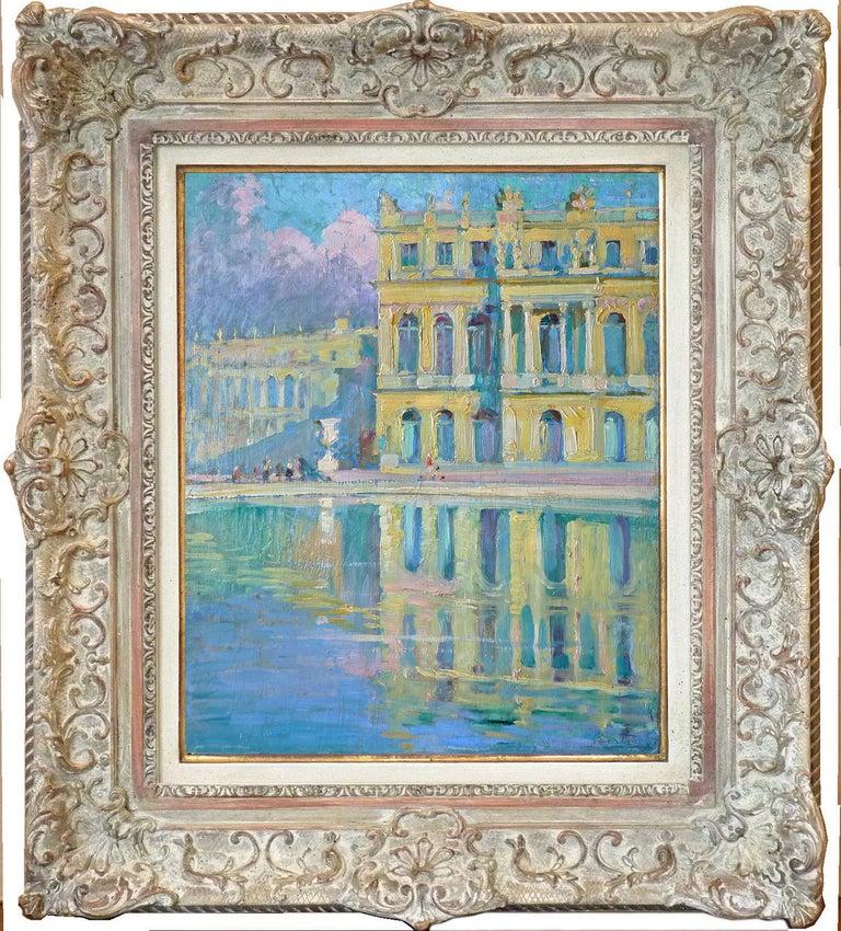 René Berti (Ribet) Landscape Painting - The garden facade of the Palace of Versailles, by franco-italian René Berti