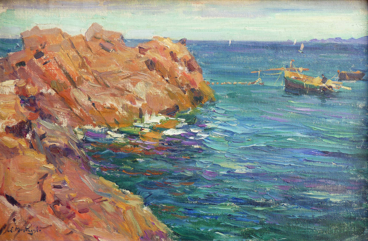 View of Cliffs at Theoule-sur-mer, French Riviera. Marine landscape painting. - Painting by Agricol Louis Montagné