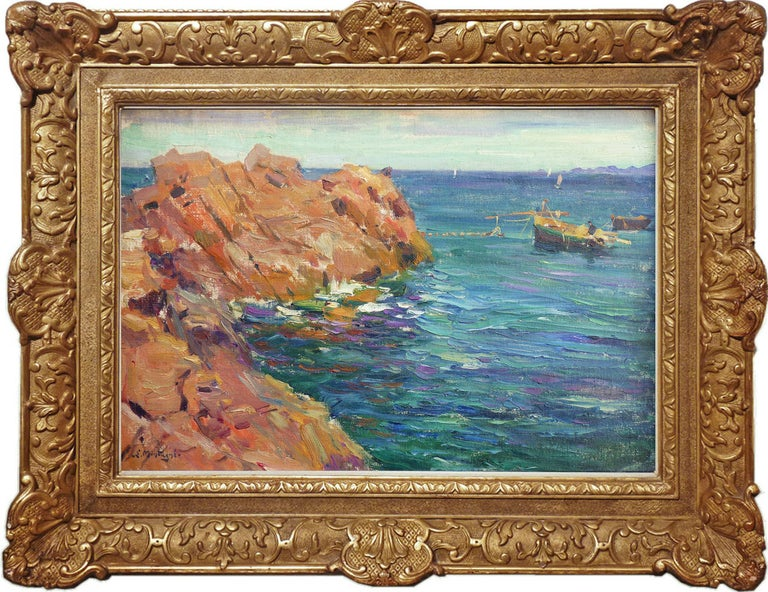 Agricol Louis Montagné Landscape Painting - View of Cliffs at Theoule-sur-mer, French Riviera. Marine landscape painting.