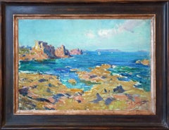 View from the Brittany island Île de Bréhat, oilpainting by Louis Montagné