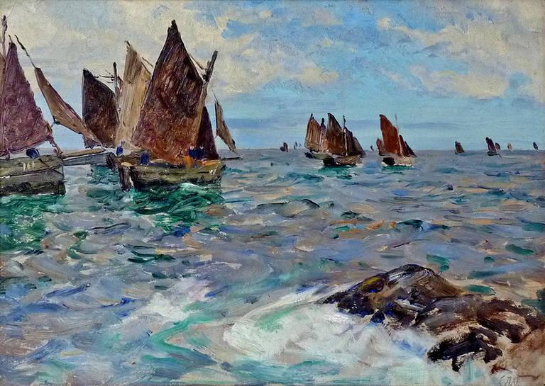 Oil Paintings Cornwall Fishing Boat