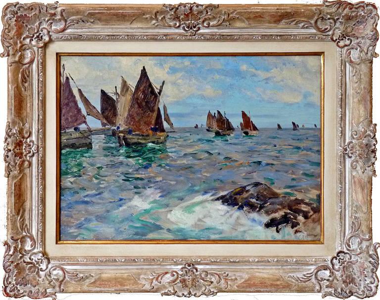 Cornelius Wagner Landscape Painting - Fishing boats near Polperro, Cornwall, England. Marine painting.