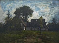 Old farmyard in Fontainebleau forest, signed oil by Barbizon artist Leon Richet