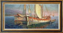 Boats anchored in St. Tropez, signed oil painting by french artist Gaston Prost