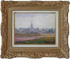 Sunset landscape, post- impressionist oilpainting by french artist Kastor 1910