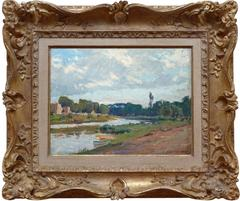 The Marne river near Perreux, Oil painting by french artist Grandgérard