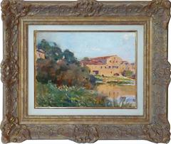 Storehouses at the harbor, post-impressionist painting by Grandgérard