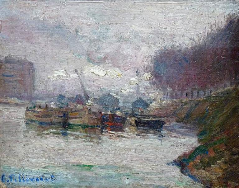 Barges on the Seine, post-impressionism oil painting by french artist Pellegrin - Painting by Charles Pellegrin