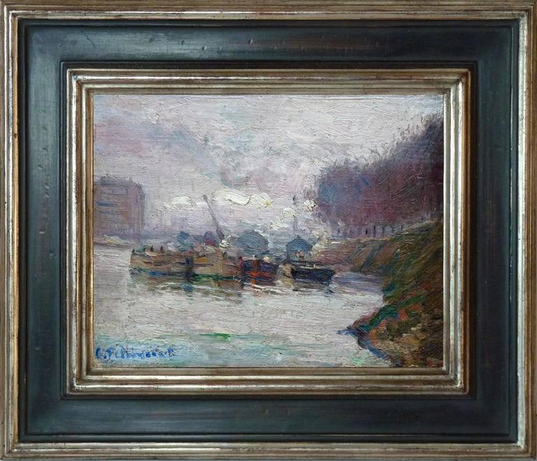 Charles Pellegrin Landscape Painting - Barges on the Seine, post-impressionism oil painting by french artist Pellegrin