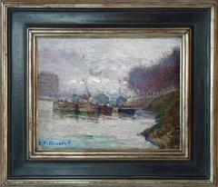 Barges on the Seine, post-impressionism oil painting by french artist Pellegrin