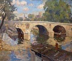 Barges on the Seine at Pont Marie in Paris, oil painting by Poullain