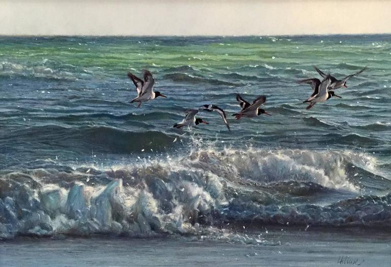Matthew Hillier Animal Painting - Oystercatchers Flying