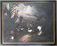 Ruffs In a Landscape, Oil on Canvas Old Master Painting