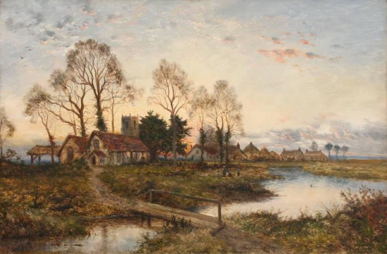 The Village at Dusk - Painting by Daniel Sherrin