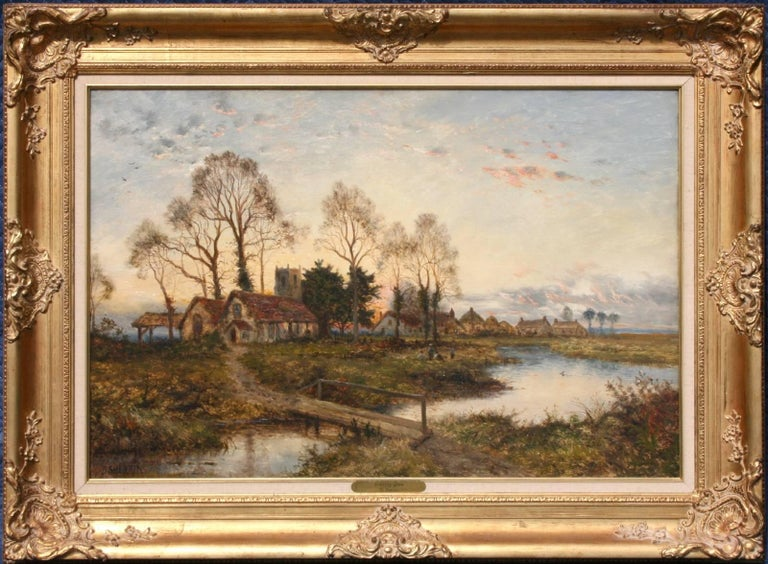 Daniel Sherrin Landscape Painting - The Village at Dusk
