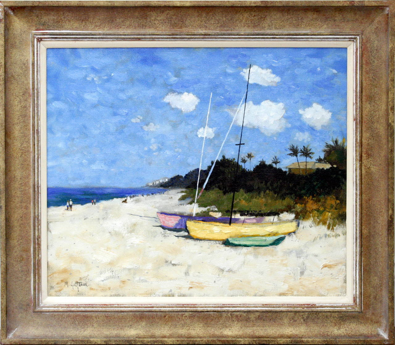 Landscape Lighting Naples Fl: Boats On Naples Beach, Painting For Sale