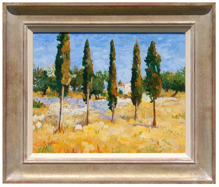 Marcel Gatteaux Landscape Painting - Tall Trees in Greece